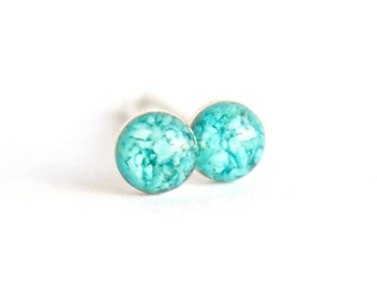 4mm Pure Blue Turquoise Stud Earrings. Turquoise Studs, Turquoise Stud Earrings, Turquoise Post Earrings.