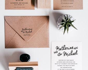Wedding Invitation Suite Stamp Set (W001)