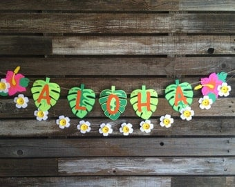 Aloha Tropical Summer Banner, Luau Party, Summer Party, Birthday Party, Aloha Banner