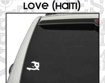 Haiti Vinyl Window Decal // Haiti with Heart Vinyl Window Decal