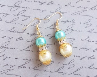 Pearl Dangle Earrings, Ivory Turquoise Beaded Pearl Earrings, Vintage Style Jewelry, Gold Plated Earrings, Beaded Jewelry, Handmade Jewelry