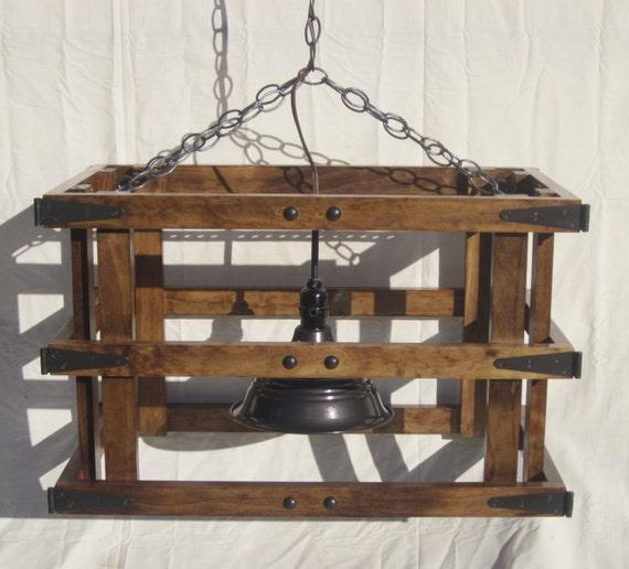 Lustre en bois lustre plafonnier luminaire rustique - Lustre rustique bois ...