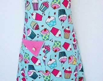Cupcake Apron, Cute Retro Apron, Aqua, Pink Polka Dots, Cupcakes, Womens Full Apron, KitschNStyle