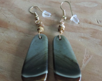 Picture Jasper Earrings,  Jasper Earrings, Aqua Blue Earrings, Gemstone Earrings,  Blue Green Earrings,