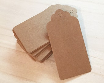 4.5x9 cm Brown Kraft Scallop Blank Tags (50 pcs) Favor Tags Swing Tags Card Blanks C0116