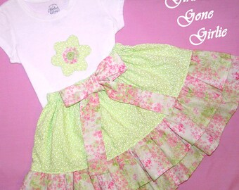 Little girls ruffle skirt outfit , green ruffle skirt , toddler back to school outfit , girls twirl skirt , green and pink skirt, size 3-4