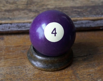 """Old Pool Ball 4 Four IV Purple Number Plastic Billiard Ball Standard Size 2.25"""" Color Solid Solids Retro Paperweight Man Cave"""