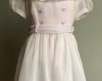 Vintage Girl's Pale Lilac 1950's fOrgandy Party Dresss