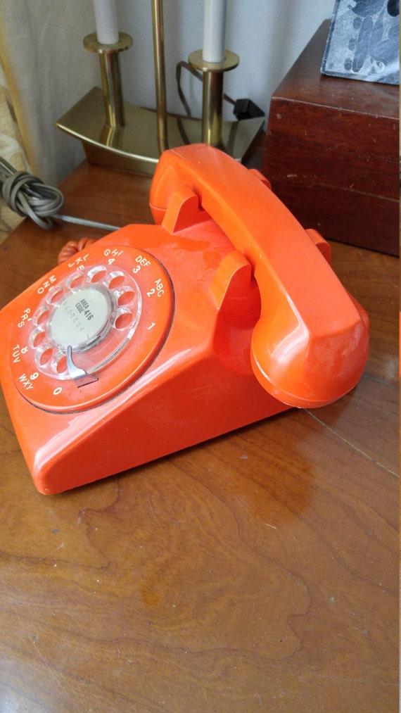 orange vintage phone. Black Bedroom Furniture Sets. Home Design Ideas