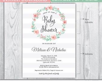 baby shower invitation girl / baby girl baby shower invitation / flower baby shower invitation / baby shower flowers invitation INSTANT