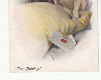 DOGS- TOY BULLDOGS Antique Postcard C 1910 On Pillow A/S Vivian Mansell, Unused