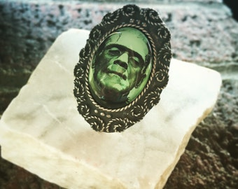 Frankenstein Ring, Horror Jewelry, Halloween Costume Jewelry, Silver Ring, Horror Ring, Boris Karloff, Gothic Ring, Horror Movie Memorabilia