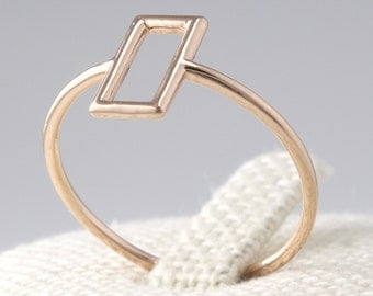 14K Solid Gold Simple Ring, 14K Gold Geometric Ring, 14K Gold Thin Ring, 14K Gold Ring, Minimalist Ring