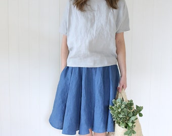 Lines Blouse |  Kimono Top | Short Sleeves Tee | Tee | Shirt | Blouse | Top | Handmade Soft Washed Linen Fabric | Japanese Style Top