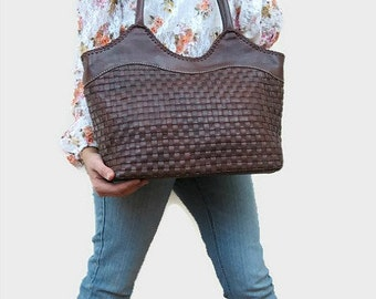 SALE!!! Brown leather tote - leather bag - leather tote bag with zipper - leather shoulder bag - everyday bag - zippered tote