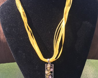 Yellow Ribbon Necklace with Flower Pendant