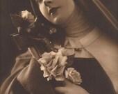 Saint Thérèse of Lisieux Religious Kitsch Original Vintage 1931 French Photo Postcard by P.C of Paris…Mystical Beautiful Woman with Crucifix