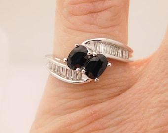 1.35 Carat T.G.W. Ladies Oval Cut Blue Sapphire & Diamond Ring 14K