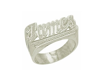 SNS115 - Sterling Silver Diamond-Cut w/ Tail Name Ring