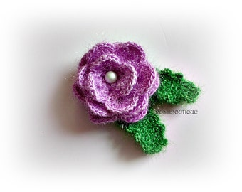 Purple Crochet flower rose Crocheted flowers appliques Crochet Purple flower craft supplies scrapbooking Applique wedding decorations