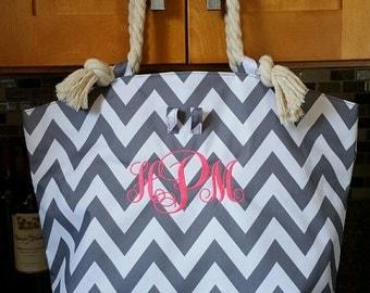 "20"" Large Gray Chevron Tote bag beach bag with Monogram (Embroidery) -Bridesmaid Gift, Teachers, Mom"