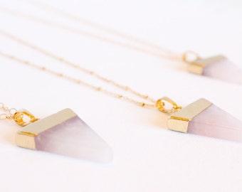 Rose Quartz Triangle Necklace - Gemstone Necklace - Pink Quartz - Gold Dipped Quartz - Gold Plated Gemstone - Layering Necklace - Gift Ideas