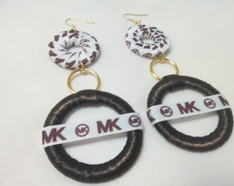 Hip Hop, Hoop and Fashionable Brown/White  Ribbon Earrings