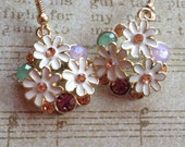 Flower Earrings with Rhinestones, Gift Ideas, For Her, Jewelry, Earrings, Flower Earrings