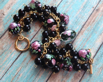 Black and Pink Glass Lampwork Bracelet, Lampwork Bracelet, Beaded Bracelet, Beadwork Bracelet, Gift For Her