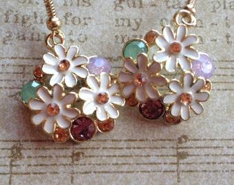 Flower Earrings with Rhinestones, Gift Ideas, For Her, Jewelry, Earrings, Flower Earrings