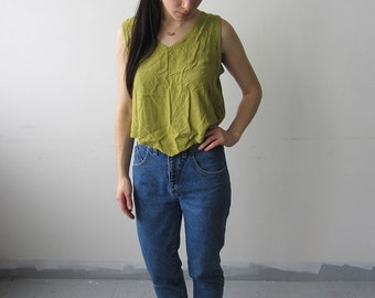 Olive Green Embroidered Hippie/Bohemian Tank Top