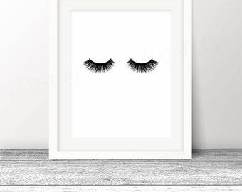 Lashes Print, Eyelashes, Lash Art, Eyelash Makeup Print, make up decor, INSTANT Download, Digital Printable Art, Lash Fashion Makeup Prints