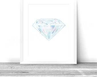 Watercolor Diamond print, Geometric Diamond wall art print, Jewelry printable art decor, Gem Fashion print watercolor art, gemstone prints