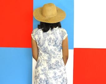 90s Vintage Summer Straw Wide Brim Hat