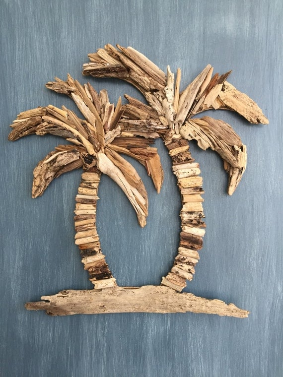 driftwood palm trees coastal tropical wall decor. Black Bedroom Furniture Sets. Home Design Ideas
