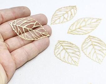3 Pcs Raw Brass Leaf Pendant 30x52mm, Leaf Charms , Stamping , single leaf , EYM48