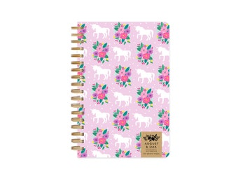 Unicorn Notebook with Grid Paper, 100 Pages