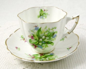 Vintage Tea Cup and Saucer with Lily of the Valley Flowers, Made by Victoria, English Bone China, Ruffled Scalloped Edges