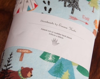 Handmade Bear Forest Fitted Flannel Cot Sheet
