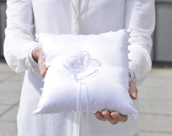 Ring pillow - white beaded embellished