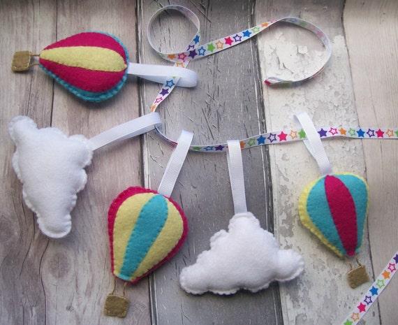 Hot air balloon nursery decorations cloud nursery by for Balloon cloud decoration