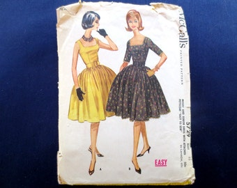 1960 Flared Dress with Square Neckline & Petticoat Vintage Pattern, McCalls 5729, Size 12, Bust 32