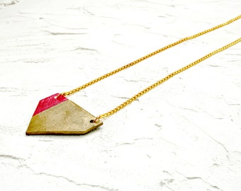 Geometric Triangle sign necklace, shrink plastic, shrinky dinks, Gold necklace, charm, pink, Two-sided, gift for her, Christmas gift for her