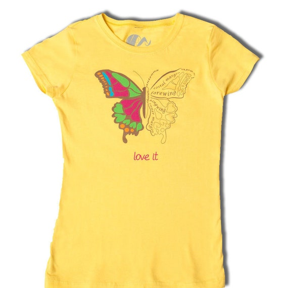 Clothes for girls, tshirt, fun and educational girls shirt, science shirt for girls, BUTTERFLY LOVE, Biology
