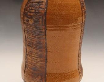 Vase with Yellow Panel and Celadon glaze.