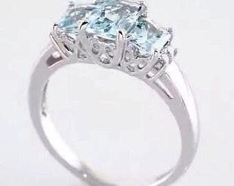 14kt White Gold 3 Stone Radiant Octagon Shape Aquamarine & .05 CTW Diamond Ring US Size 7