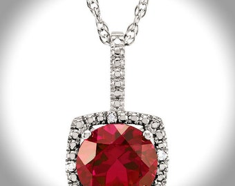 925 Sterling Silver 7mm Created Ruby & .015 CTW Diamond Halo Birthstone Necklace 18 inches with 1.28 Carat Natural Citrine