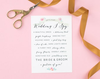 Pretty Wedding I Spy Game - Wedding Reception Game - Floral I Spy Cards - Wedding Reception Fun - Wedding Activities For Guests - Wildflower