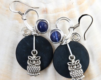 Owl Jewelry, Owl Earrings, Bird Earrings, Navy Blue Earrings, Animal Jewelry, Animal Earrings, Raptors, Bird Lover Gifts, Fun Earrings