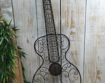Wrought Iron Guitar Decor, Iron Wall Decor, Blacksmith Made, Metal Wall Art,  Rustic Guitar, wrought iron art, wrought iron decor, industrial